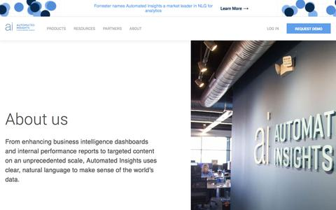 Screenshot of About Page automatedinsights.com - About | Automated Insights - captured Dec. 28, 2019