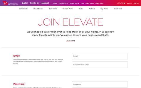 Screenshot of Signup Page virginamerica.com - Elevate Frequent Flyer Rewards Programs - Sign Up   Virgin America - captured Jan. 30, 2017