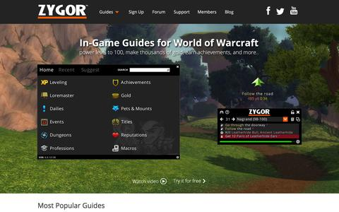 Screenshot of Home Page zygorguides.com - Zygor Guides - captured Oct. 1, 2015