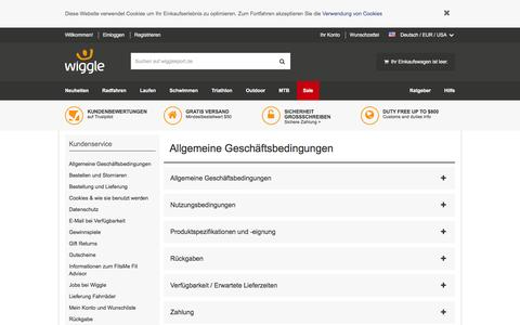 Screenshot of Terms Page wigglesport.de - Wiggle Kundendienst - captured Aug. 29, 2016