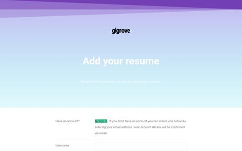 Screenshot of Signup Page gigrove.com - Submit Resume - GigRove - captured Oct. 16, 2017