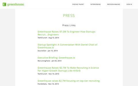 Screenshot of Press Page greenhouse.io - Press   Greenhouse - captured Sept. 16, 2014