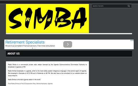 Screenshot of About Page simba.fm - About Us  - Radio Simba, The Best Luganda Station in the World ! - captured Oct. 27, 2014