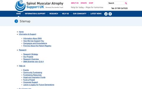 Screenshot of Site Map Page smasupportuk.org.uk - SMA Support UK - captured Oct. 6, 2014