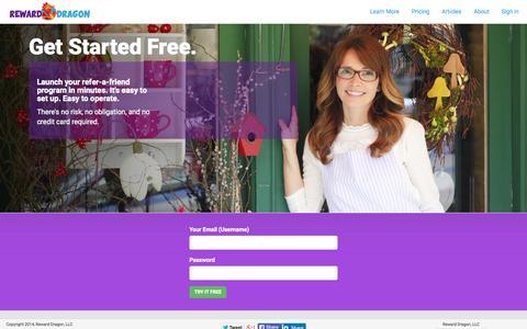 Screenshot of Signup Page rewarddragon.com - Sign up - captured Aug. 16, 2015