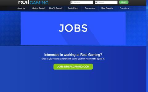 Screenshot of Jobs Page realgaming.com - Real Gaming -- Jobs at Real Gaming - captured Oct. 27, 2014
