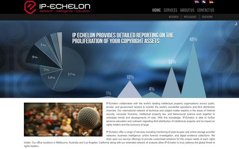 Screenshot of Home Page ip-echelon.com - IP-Echelon - Research | Intelligence | Education - captured Sept. 26, 2014