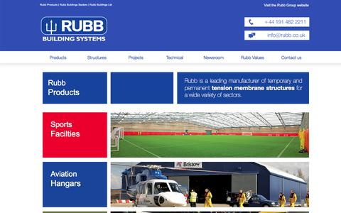 Screenshot of Products Page rubbuk.com - Rubb Product Range - Fabric Buildings   Rubb Buildings - captured Oct. 7, 2014