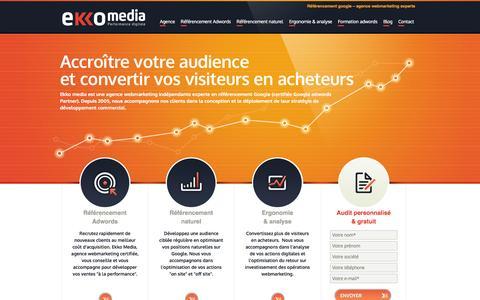 Screenshot of Home Page Menu Page ekko-media.com - Agence webmarketing experte référencement Google. Développez vos ventes au meilleur prix. - captured Sept. 23, 2014