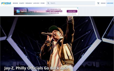 Screenshot of Home Page pollstar.com - Pollstar - captured July 20, 2018