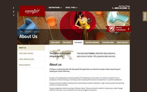 Screenshot of Press Page escapio.com - About Us | Escapio Corp - captured Sept. 16, 2014