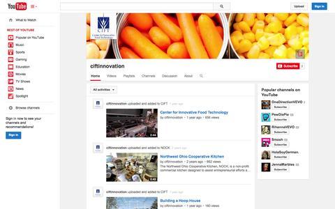 Screenshot of YouTube Page youtube.com - ciftinnovation  - YouTube - captured Oct. 22, 2014