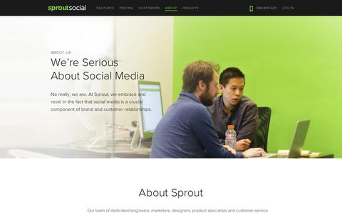 Screenshot of About Page sproutsocial.com - About Us | Sprout Social - captured Sept. 12, 2014
