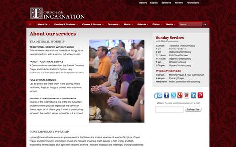 Screenshot of Services Page incarnation.org - About our services | Church of the Incarnation - captured Oct. 2, 2014