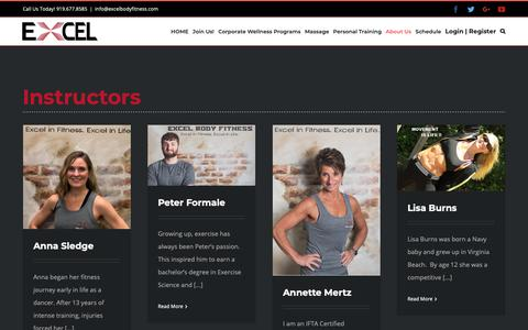 Screenshot of About Page Team Page excelbodyfitness.com - Instructors - Excel Body Fitness - captured Sept. 29, 2018