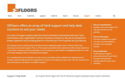 Screenshot of Support Page 33floors.com - 33Floors Yardi support and help desk services - captured Feb. 24, 2016