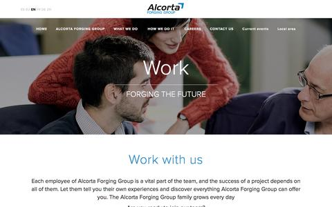 Screenshot of Jobs Page alcortagroup.com - Work with us - Alcorta Forging Group - captured Nov. 19, 2016