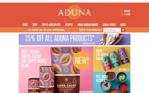 Screenshot of Home Page aduna.com - Aduna - captured Feb. 22, 2016
