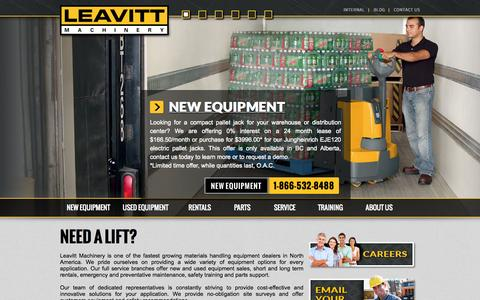 Screenshot of Home Page leavittmachinery.com - Leavitt Machinery | Need a Lift - captured Sept. 29, 2014