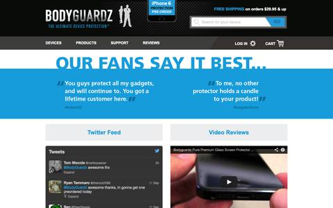 Screenshot of Testimonials Page bodyguardz.com - BodyGuardz® Testimonials - captured Sept. 12, 2014
