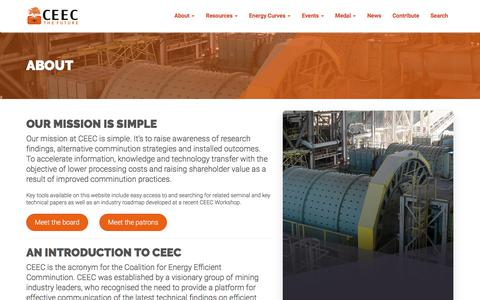 Screenshot of About Page ceecthefuture.org - About - CEEC (Coalition for Eco Efficient Comminution) - captured Sept. 25, 2018