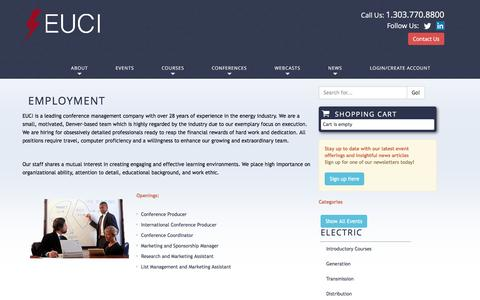 Screenshot of Jobs Page euci.com - Employment | EUCI EUCI - captured July 10, 2016