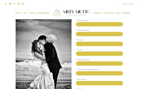 Screenshot of Contact Page mistymiotto.com - Contact - Misty Miotto Photography - Orlando Wedding Photographer - captured Oct. 18, 2018
