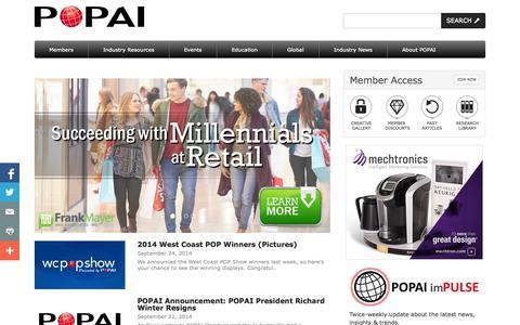 Screenshot of Home Page popai.com - Global Marketing at Retail: POPAI - captured Sept. 26, 2014