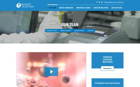 Screenshot of Team Page exactsciences.com - Our Team | Exact Sciences - captured July 13, 2018