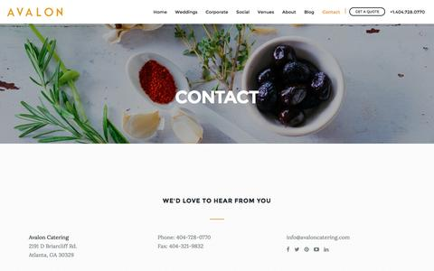 Screenshot of Contact Page avaloncatering.com - Contact | Avalon Catering - captured July 27, 2016