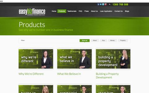 Screenshot of Products Page easybizfinance.com - Products - captured Oct. 1, 2014
