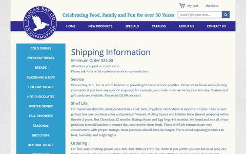 Screenshot of Terms Page pelicanbayltd.com - Pelican Bay LTD Shipping Information - captured Nov. 4, 2018