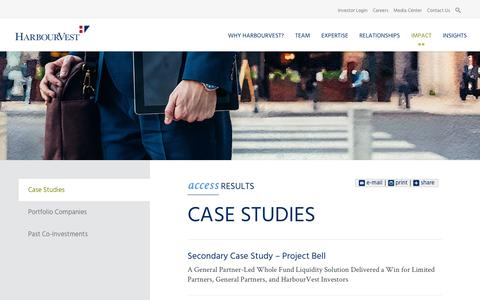 Screenshot of Case Studies Page harbourvest.com - Case Studies | HarbourVest - captured Oct. 26, 2016