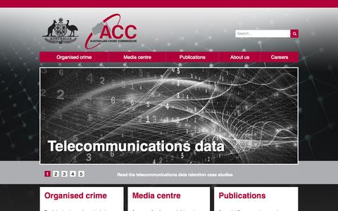 Screenshot of Home Page Menu Page crimecommission.gov.au - Australian Crime Commission - captured Sept. 19, 2014