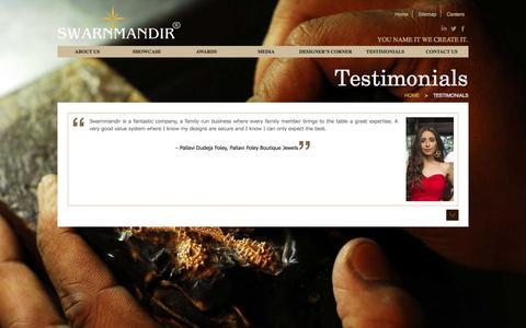 Screenshot of Testimonials Page swarnmandir.com - Swarnmandir - captured Nov. 18, 2016