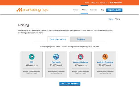Screenshot of Pricing Page marketing-mojo.com - Pricing - Marketing Mojo - captured Sept. 19, 2014
