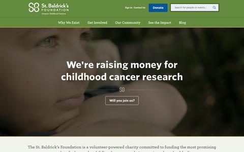 Screenshot of Home Page stbaldricks.org - St. Baldrick's Foundation - captured Oct. 1, 2015