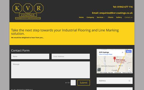 Screenshot of Contact Page kvrcoatings.co.uk - Contact us - - captured Oct. 29, 2014