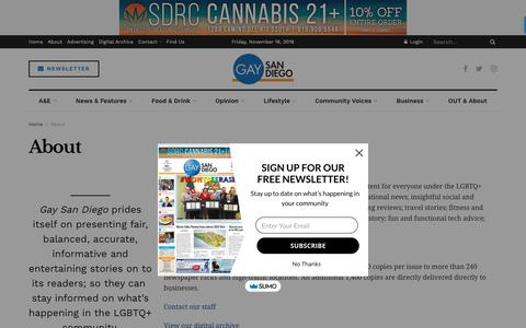 Screenshot of About Page gay-sd.com - About – Gay San Diego - captured Nov. 17, 2018