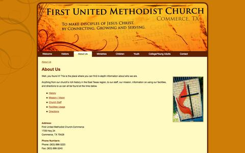 Screenshot of About Page fumccommerce.org - First United Methodist Church – Commerce, TX: About Us - captured Oct. 6, 2014