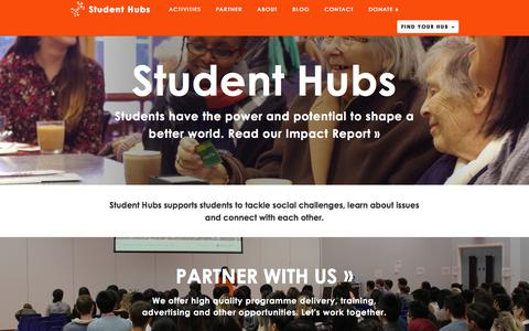 Screenshot of Home Page studenthubs.org - Student Hubs - captured Nov. 10, 2017