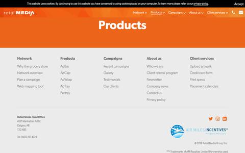 Screenshot of Products Page retailmedia.ca - Products - Retail Media - captured Oct. 23, 2018