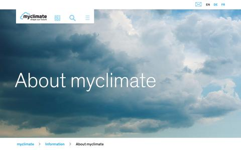 Screenshot of About Page myclimate.org - myclimate is your partner for effective climate protection - captured Nov. 14, 2018