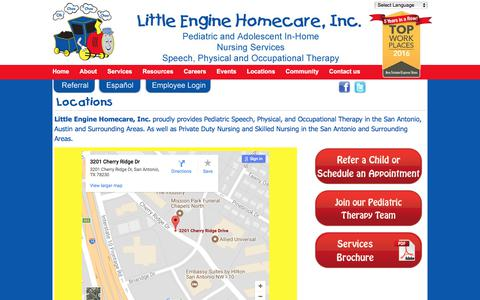 Screenshot of Locations Page littleenginehomecare.com - Locations - LittleEngineLittleEngine - captured Aug. 23, 2017