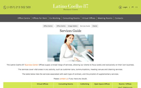 Screenshot of Services Page latinocoelho87.pt - Services Guide - Latino Coelho 87 - Lisbon Office Centre - Offices for Rent, Co-working, Consulting Rooms and Virtual Offices - captured July 17, 2017