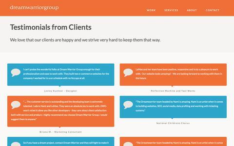 Screenshot of Testimonials Page dreamwarrior.com - Testimonials from Clients | Dream Warrior Group - captured Oct. 4, 2018