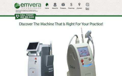 Screenshot of Products Page emvera.com - Emvera Technologies Aesthetic & Medical Devices - captured Oct. 18, 2018
