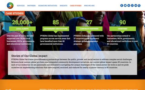 Screenshot of Case Studies Page pyxeraglobal.org - Case Studies - PYXERA Global - captured Sept. 30, 2014