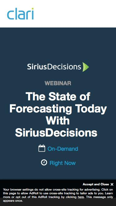 Webinar on Demand: The State of Forecasting Today With SiriusDecisions
