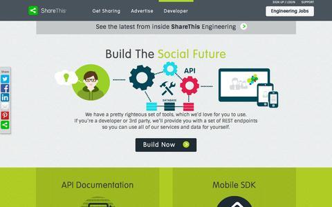Screenshot of Developers Page sharethis.com - Build The Social Future With ShareThis Tools and API Documentation - captured Nov. 21, 2015